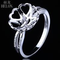 HELON Solid 14K (AU585) White Gold Engagement Wedding Natural Diamond Semi Mount Ring Setting 8 12mm Round Pearl Trendy Jewelry