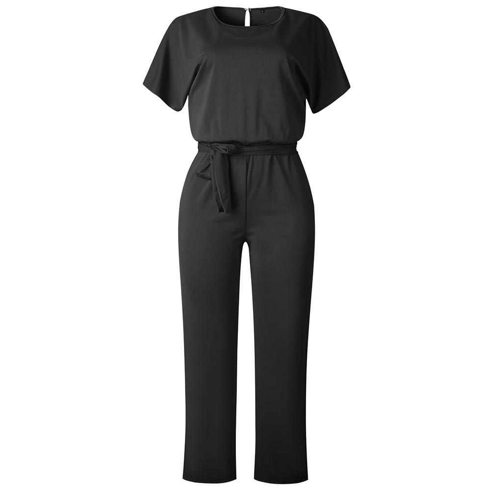 Monos elegantes de manga corta de verano para mujer, monos de talla grande 3XL, pantalones largos de encaje con lazo