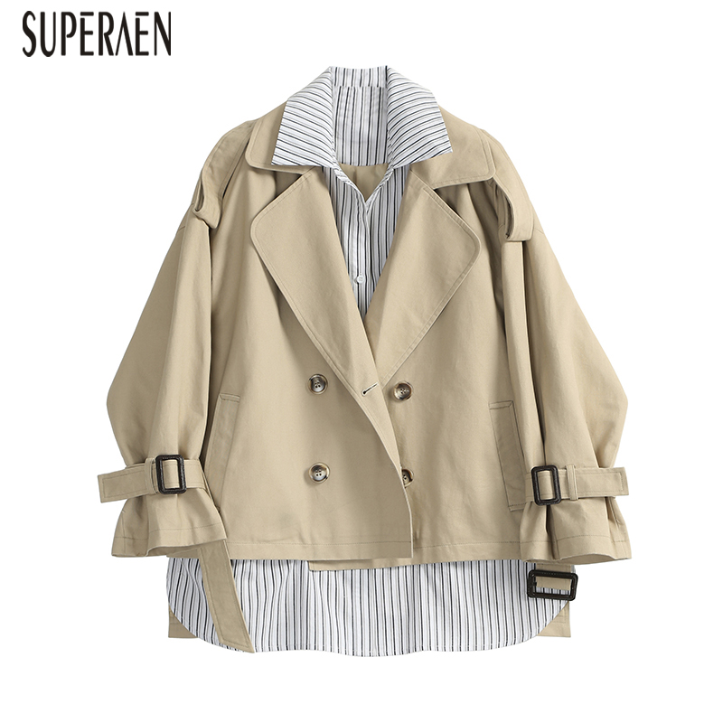 SuperAen Fashion   Trench   Coat for Women Cotton Fake Two Pieces Spring New 2019 Ladies Windbreaker Striped Wild Women Clothing