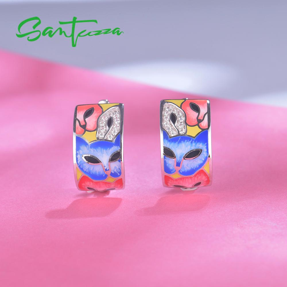 Image 5 - SANTUZZA Silver Earrings For Women 925 Sterling Silver with White CZ Hand made Enamel Lovely Cat Unique Earring Fashion JewelryEarrings   -