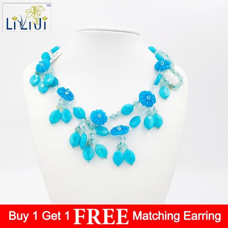 LiiJi Unique brillant cristal colorant bleu couleur Jades perles fleurs pierre fermoir à bascule mode collier pour les femmes