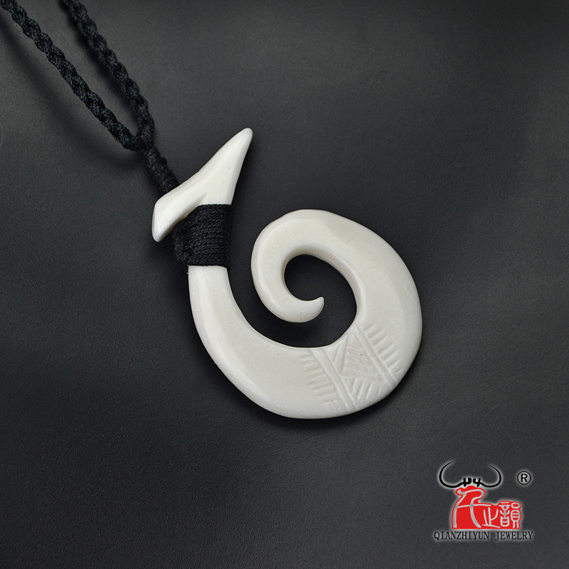 Maori Bone Carved Pendant Adjustable Cord Necklace Fish Hook Mens Womens Surfer