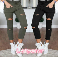 цена на New 2018 Skinny Jeans Women Denim Pants Holes Destroyed Knee Pencil Pants Casual Trousers Black White Stretch Ripped Jeans