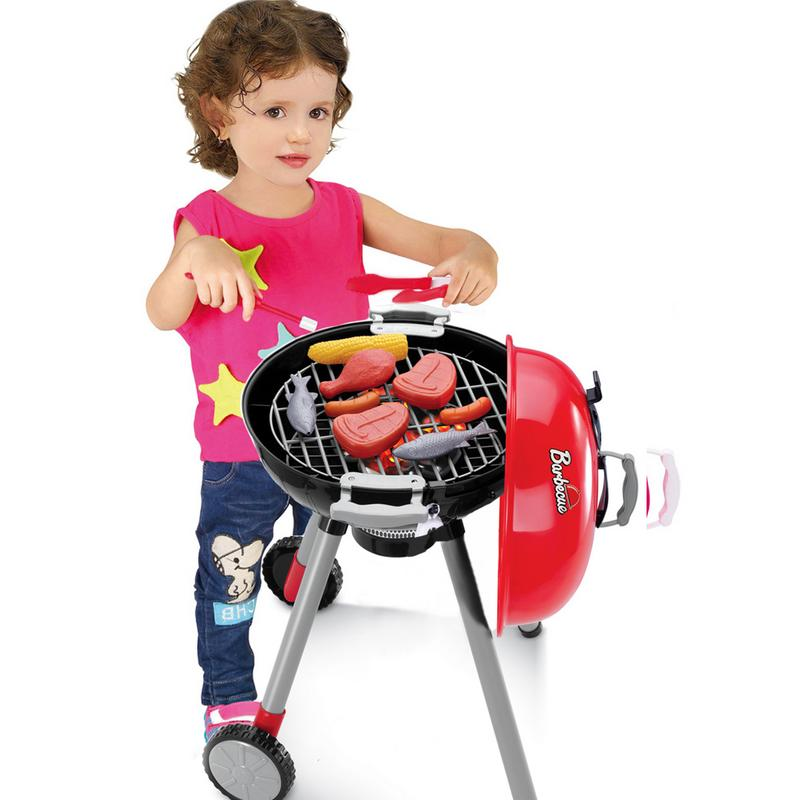 Simulation Toy Set Lighting Sound BBQ Variety Barbecue Cart Play House Educational Toys For Children Birthday Gifts
