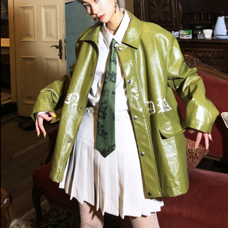 Vintage Long Sleeve Loose Pu   Leather   Woman Coat Street Punk Style Pocket Female Green Jacket