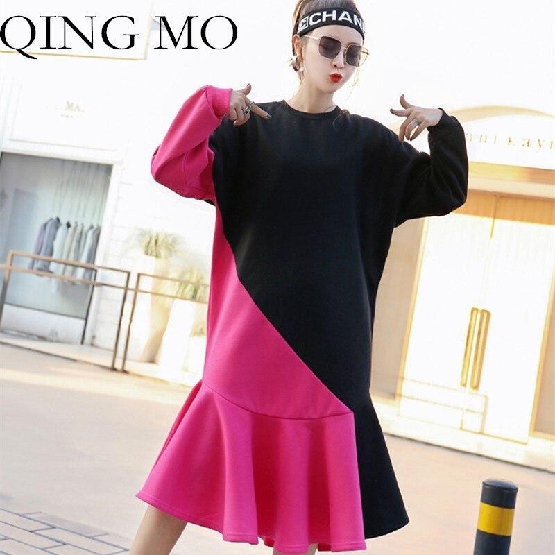 04fe997726e2 QING-MO-2019-Printemps-Femmes -Manches-Longues-Robe-O-cou-Gris-Rose-Doux-En-Peluche-Mi.jpg