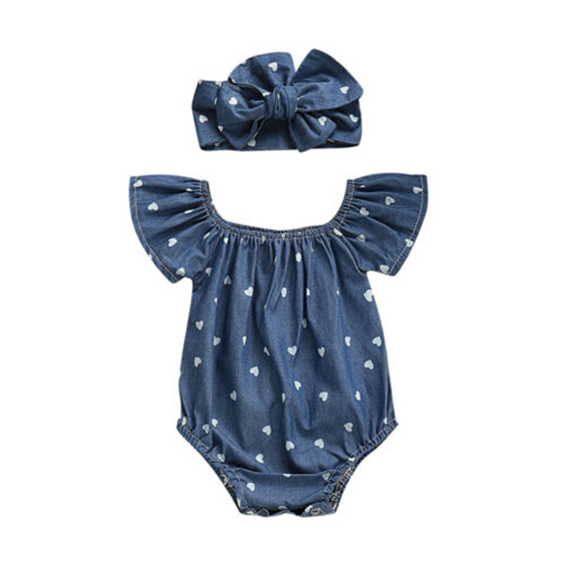Newborn Baby Girl Denim Blue Print   Romper   Sunsuit 2Pcs Outfits Set Kids Summer Jeans   Rompers   Jumpsuit Playsuit Clothes Set