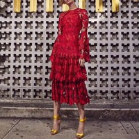 [MENKAY] Evening Party Dress Female Flare Long Sleeve High Waist Hollow Out Lace Dresses Women Elegant Fashion 2019 Spring