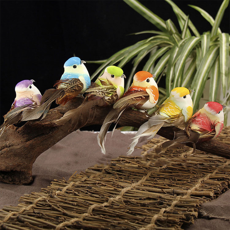 Decorative Fake Bird Model Artificial Feather Perched Fake Birds Simulation Foam Animals Garden Xmas Home Decor Miniature 6Pcs