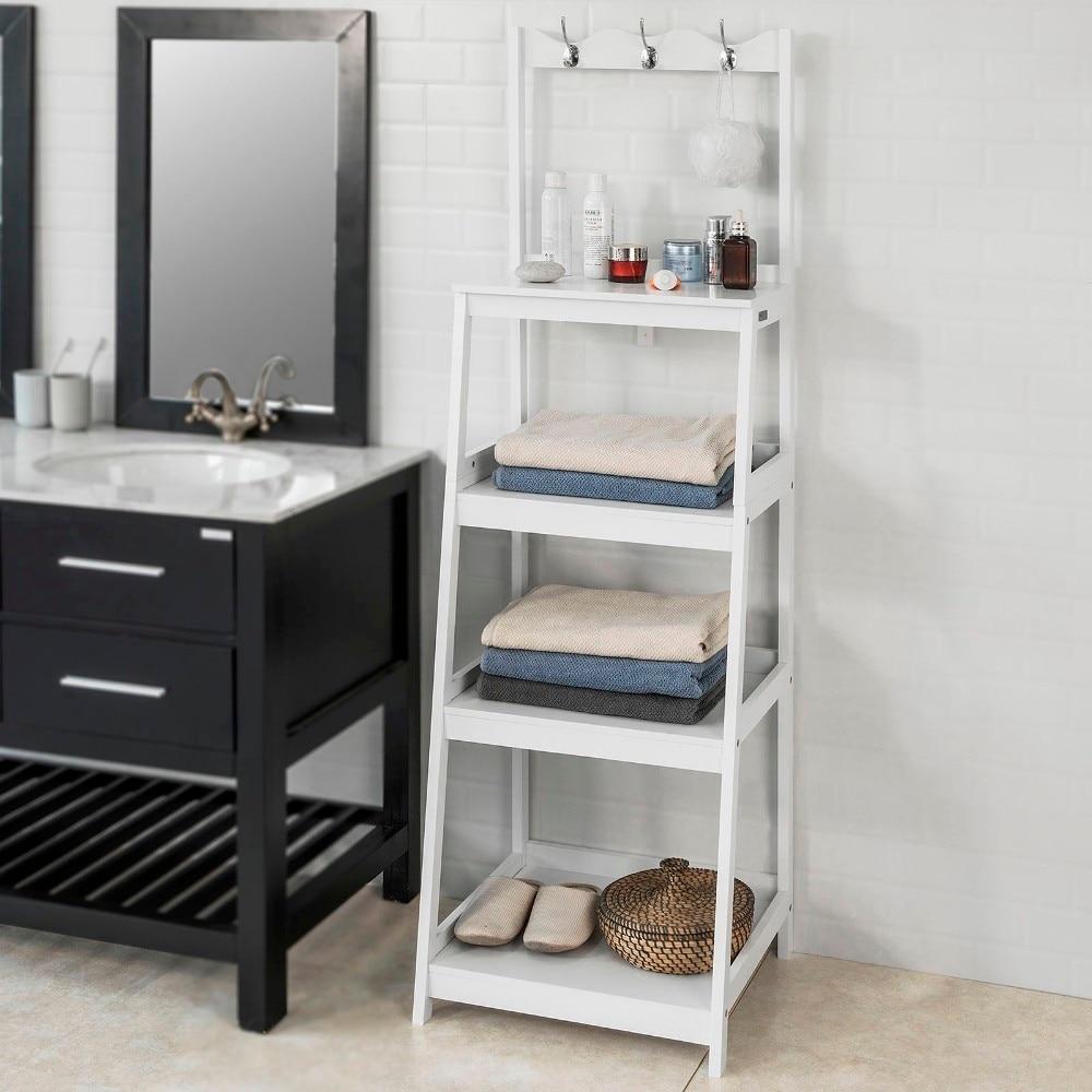 SoBuy FRG279 W Living Room Bathroom Ladder Shelf Storage Display Shelving Unit with 4 Shelves 3 Hooks in Storage Shelves Racks from Home Garden