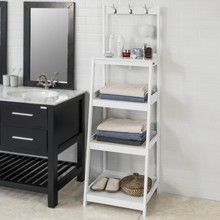 цена SoBuy FRG279-W Living Room Bathroom Ladder Shelf Storage Display Shelving Unit with 4 Shelves 3 Hooks онлайн в 2017 году