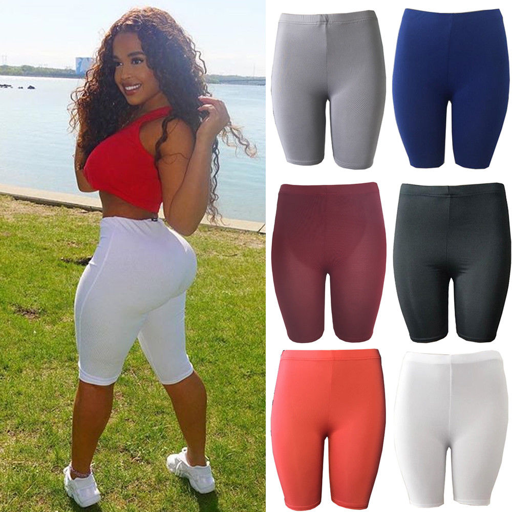 Women Solid Color Skinny Fitness Shorts Ladies Elastic Stretch High Waist Flexible Breathable Pants Casual Yoga Sportwear(China)
