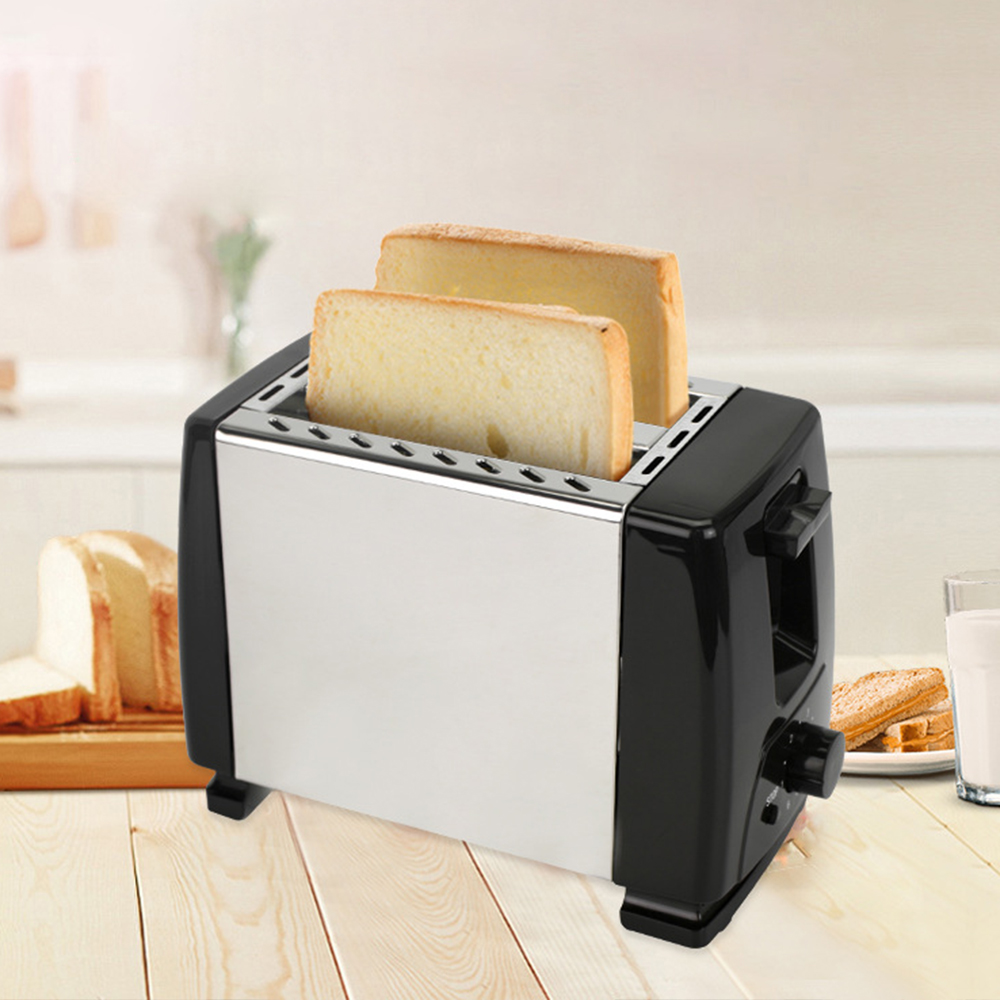 2 Slice Fully Automatic Stainless Steel Household Toaster One-Touch Shortcut Toaster With Six-Speed Temperature Adjustment 600W