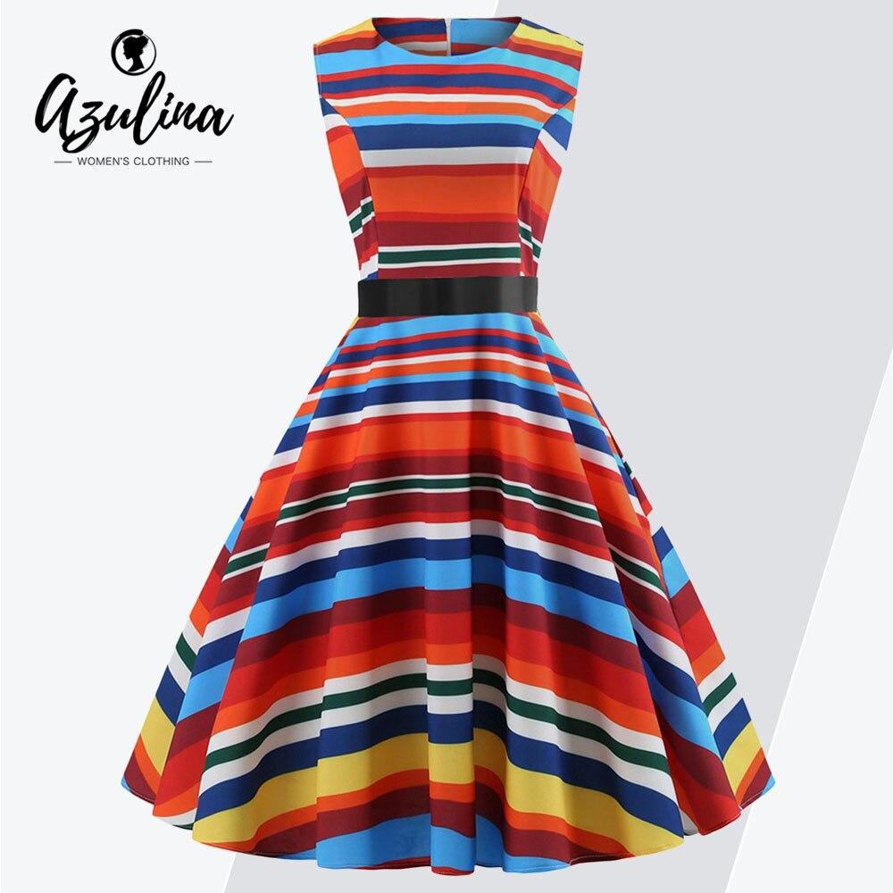 AZULINA Plus Size Vintage Striped Sleeveless Flare Dress Women Dresses  Female Retro Color Block High Waist fa4a8b2c4aeb
