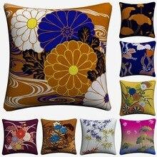 Hojas de bambú Floral Lotus Vintage funda de cojín de lino decorativo para sofá silla 45x45cm funda de almohada para decoración de hogar Almofada
