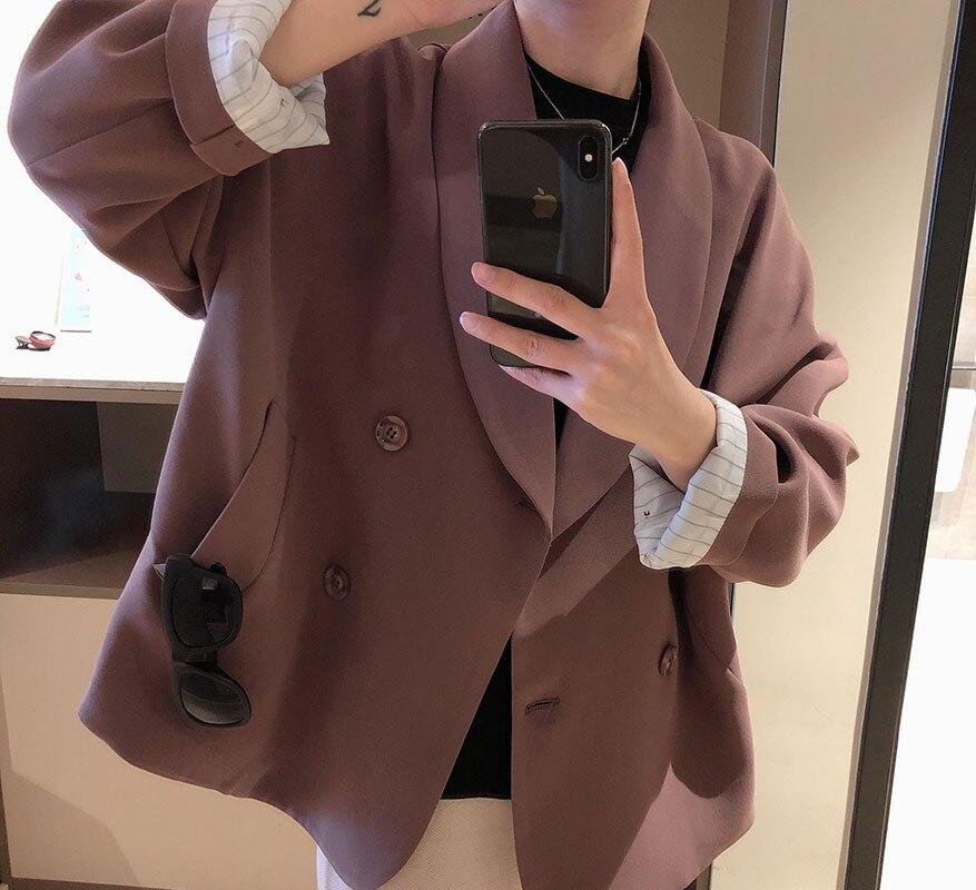 Mooirue printemps Femme violetBlazer femmes Slim simple boutonnage Ins costume lâche coréen costume droit Cardigan Feminino manteau