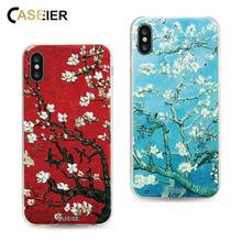 CASEIER Van Gogh Patterned Phone Cases For iPhone X Soft Silicone TPU 3D Relief Covers 10 Almond Blossom Funda Capa