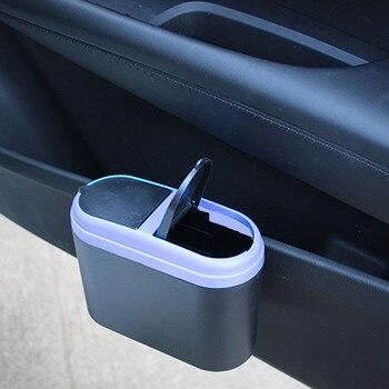 Doble coche-Apertura de basura del Interior del coche de los desechos de prensa Flip basura con tapa caja de almacenamiento de orden 1k piezas puede ser logotipo personalizado