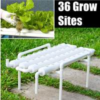 1 Layer Garden Grow Planting Box 220V Hydroponic Grow Kit Plastic 36 Sites 4 Pipes Vegetables Tools Hydroponic Rack Holder White