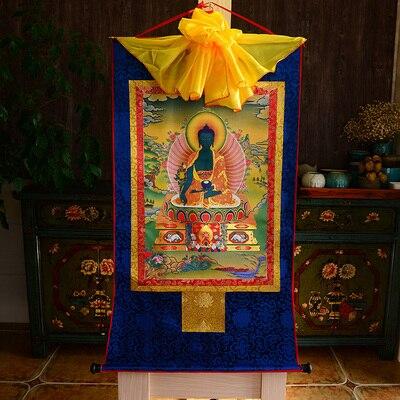 Tibetan Medicine Buddha Print Silk Gild Thangka Thanka Bhaisajyaguru