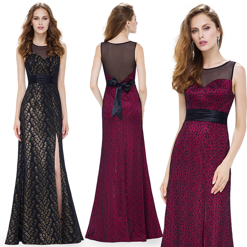 Sexy Burgundy Mother Of The Bride Dresses Ever Pretty High Split Meimaid Sleeveless Bow Sashes Elegant Wedding Guests Dresses