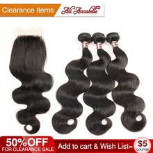 ALI ANNABELLE HAIR Brazilian Body Wave Virgin Human Hair Bundles With Closure Brazilian Body Hair 3 Bundles Hair with Free Part(China)