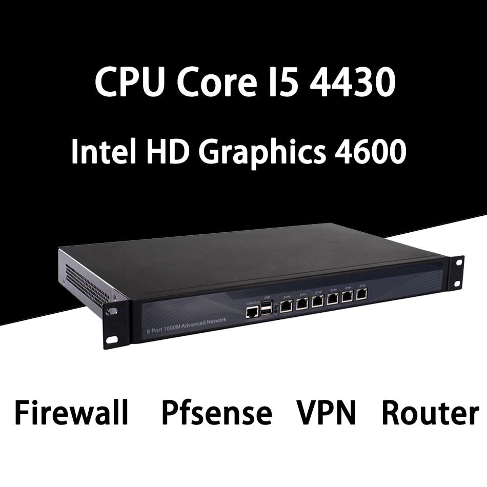 Firewall Mikrotik Pfsense VPN Network Security Appliance Router PC Intel Core I5 4430,[HUNSN SA16R],(6LAN/2USB/1COM/1VGA)