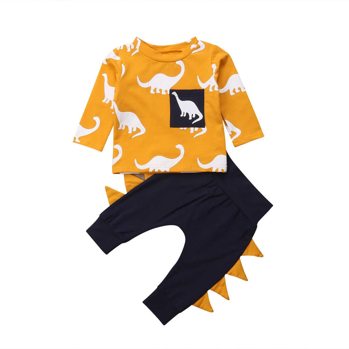 2019 חדש סגנון פעוטות ילדים תינוק ילד ילדה אביב סתיו בגדים ארוך שרוול Romper דינוזאור מכנסיים תלבושת סט גודל 0-3Years