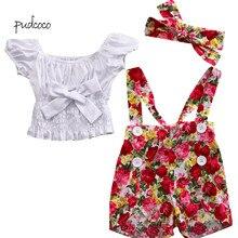 Pudcoco/Новинка; брендовая одежда для малышей; топ с бантом для девочек; штаны с цветочным принтом; комплект одежды из тюля; 2 предмета