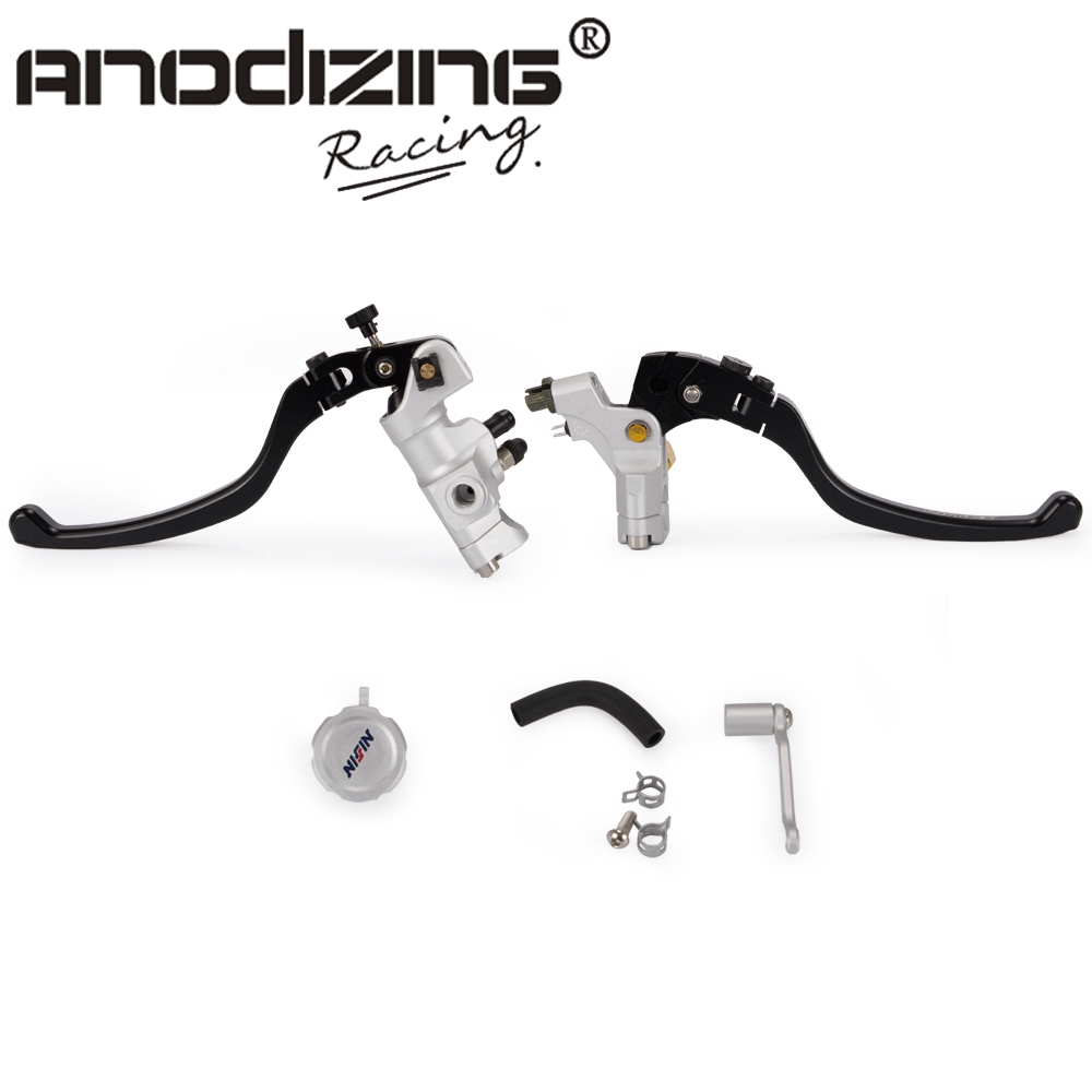 Motorcycle Pair Brake Master Cylinder Hydraulic Right Lever 16X16 Piston and Clutch Cable Clamp Left Side
