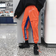 2018 Autumn and winter Male  Overalls Hip-hop loose casual pants Japanese Splicing color collision printing Beam foot trousers