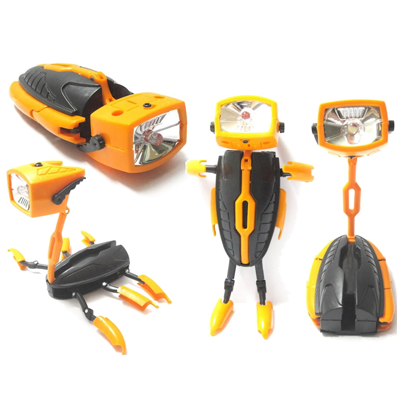 Kids Fashion Cool Mini Transformation Deformation LED Flashlight Robot Toy Creative Energy Torch Lamp Nightlight Robot Toy