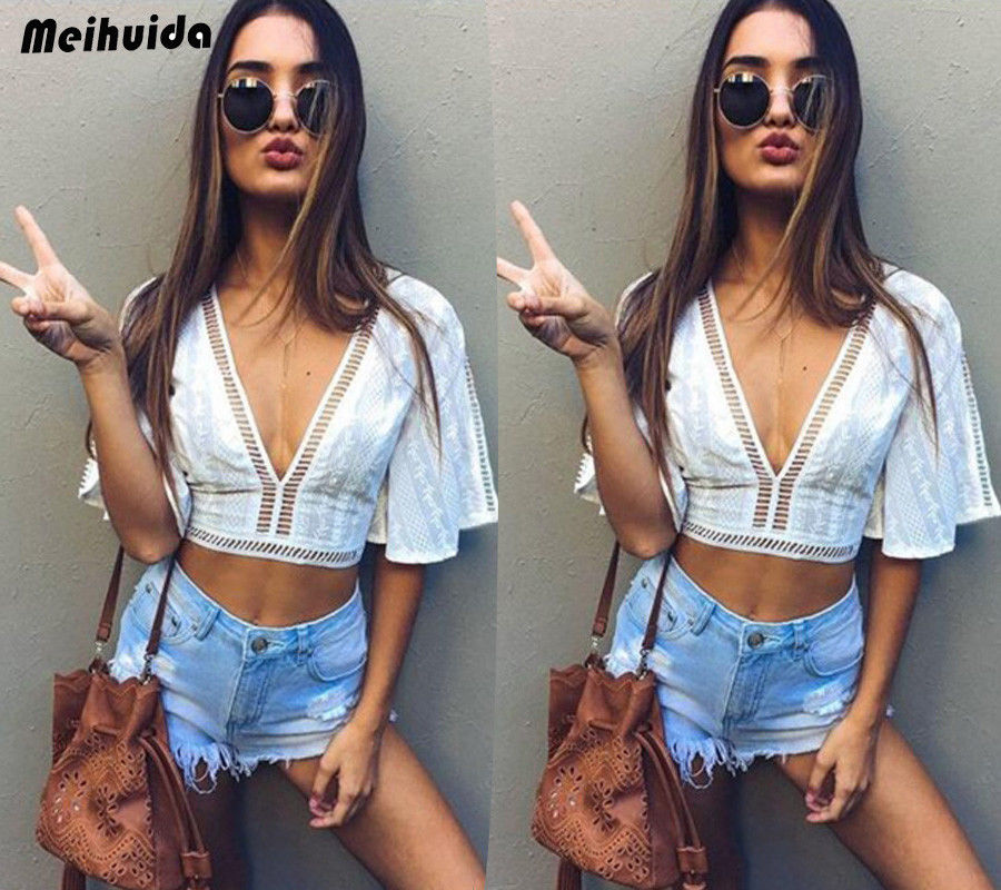 Sexy Women Summer Vest Crop Top Bikini Cover Up Sleeve Solid T-Shirt