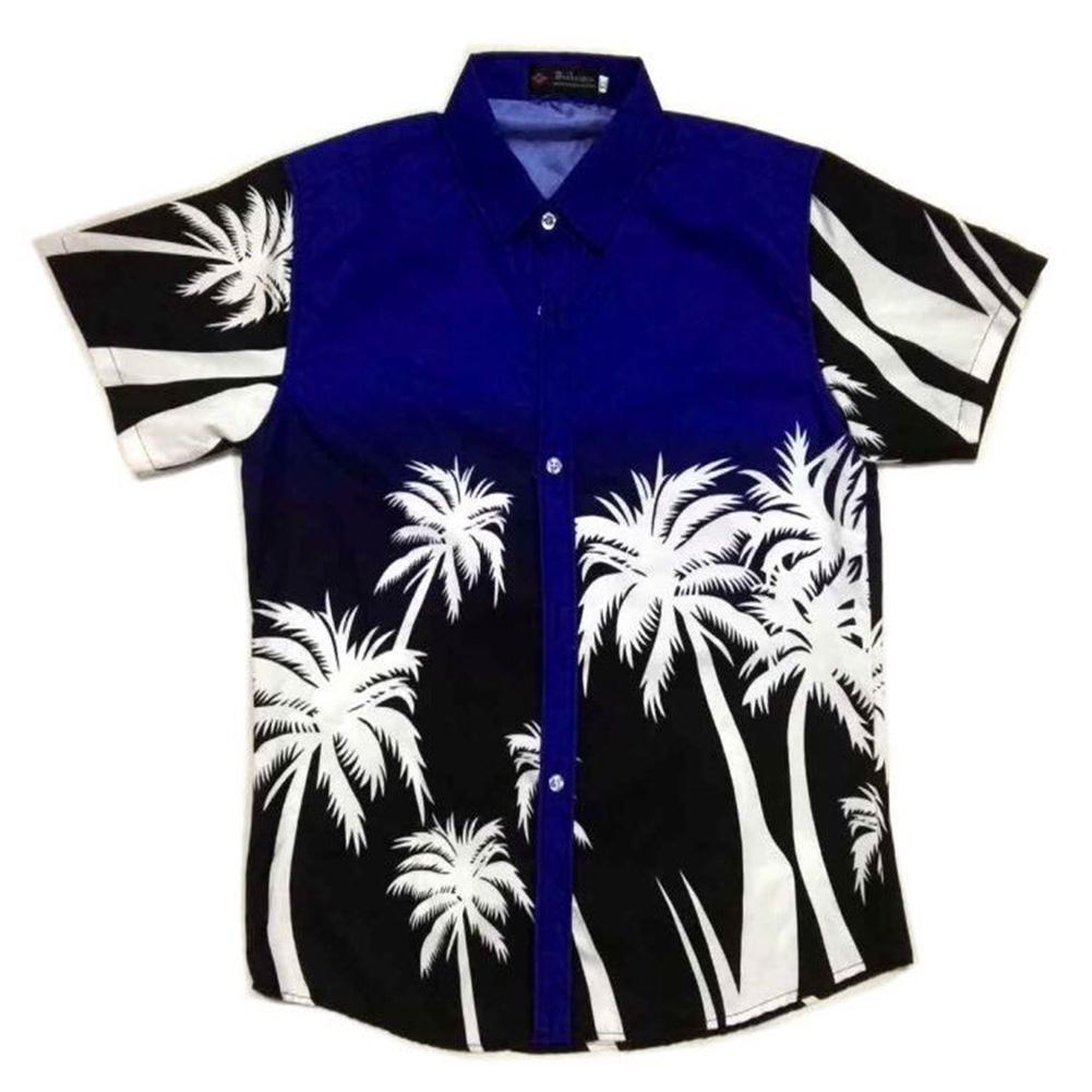 MISSKY Unisex Men Women Summer Shirt Stylish Coconut Tree Printing Hawaii Beach Shirt Male Couple Tops