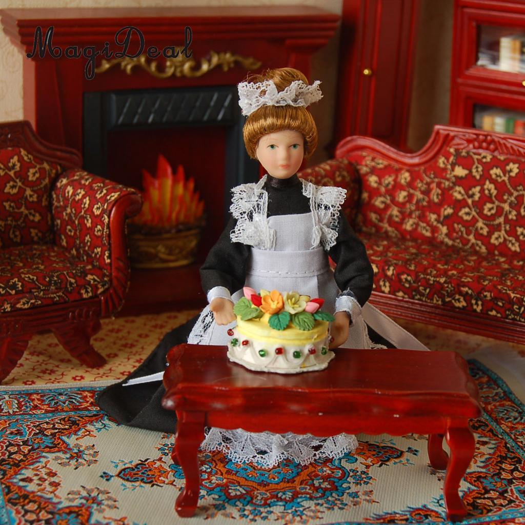 1:12 Scale Porcelain Victorian Maid Servant in Black Dress Uniform Dollhouse Miniature People Decoration