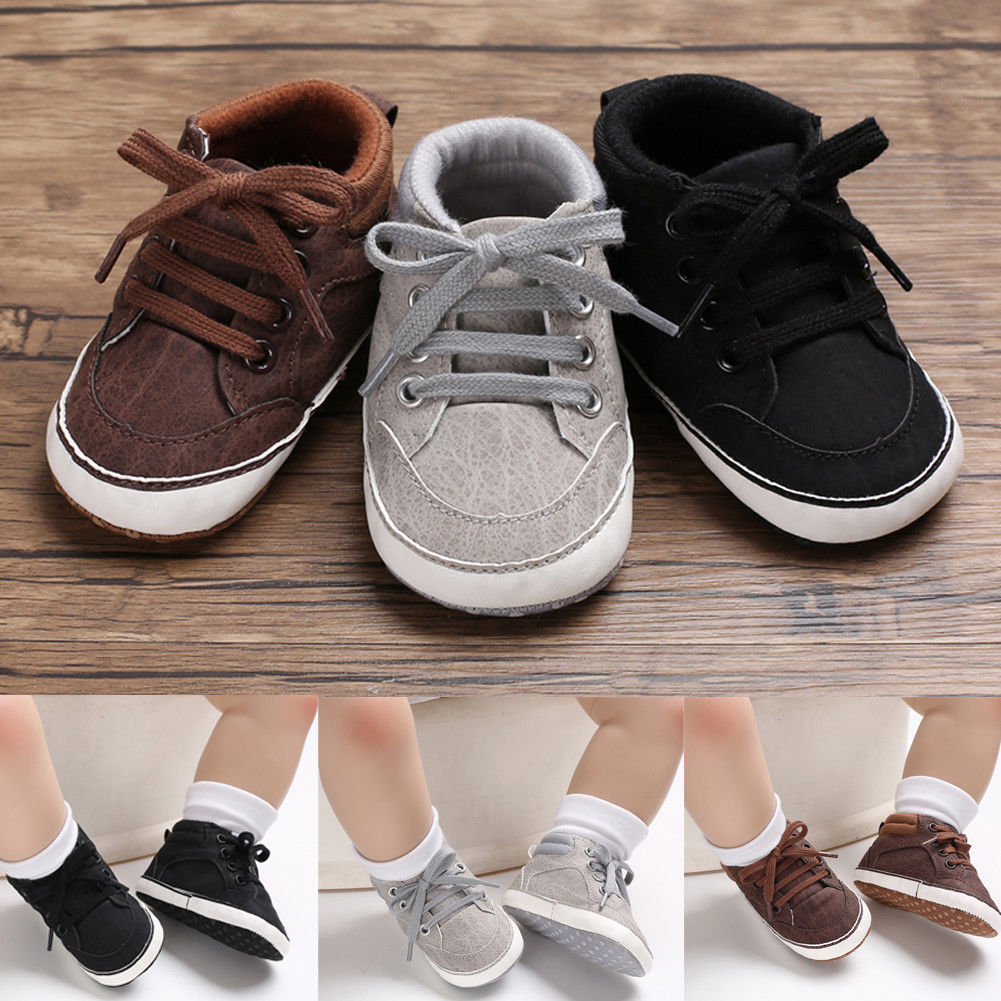 Fashion Newborn Baby Casual Shoes Toddler Girls Boys PU Lace Up Soft Sole Sneaker Infant Kids Crib Shoes For 0-18month