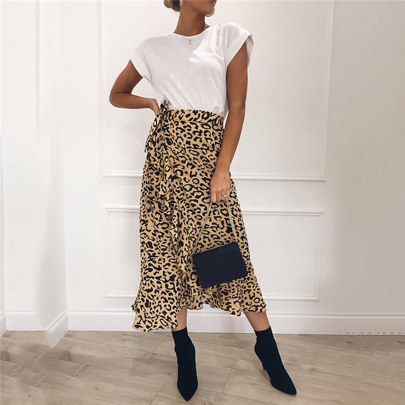 Summer Sexy Women Lace Up Skirts Fashion High Waist Ruffles Loose Slim Long Wrap Skirt 2019 New Ladies Leopard Outwear Clothing