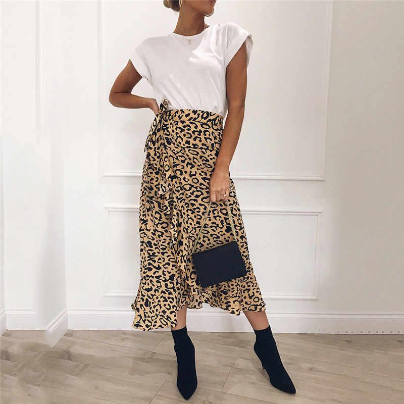 Gorące lato Sexy kobiety zasznurować spódnice moda wysoka talia Ruffles luźna, Slim długi spódnica wiązana panie Leopard odzież plażowa kobiet