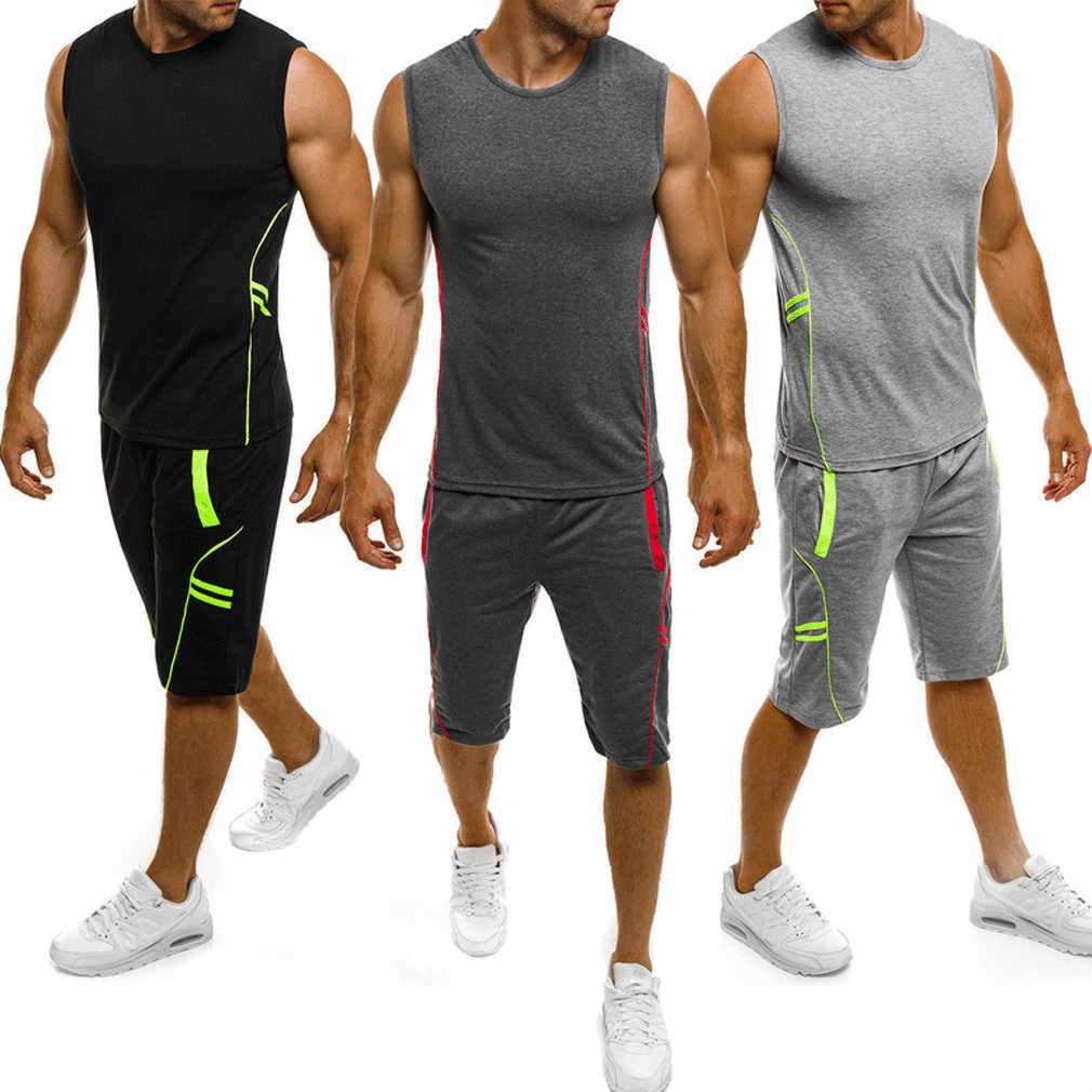 Summer Man Sportswear Gym Running Set Fitness Sleeveless Vest Shorts Pant 2PCS Jogger Tracksuit M-3XL