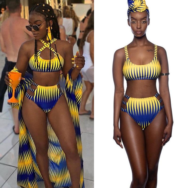 3def5e8b2e89 Sexy Women Bikini Set African Swimsuit Push Up Padded High Waist Bathing  Suit Summer Hollow Swimwear