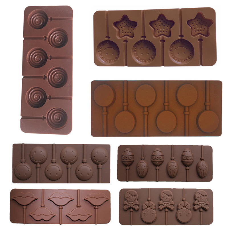 1 Pcs Ice Cookie Biscuit Mold Pan Silicone Cake Molds Pudding Jelly Candy Cake Chocolate Soap Bakeware Round Lollipop Mould
