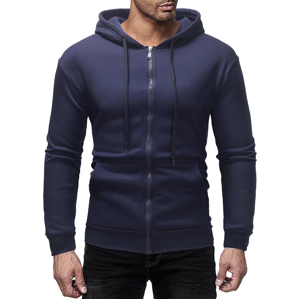 Stsed Mens Jackets Young Casual Knit Sweater Zipper Kangaroo Pocket Hooded
