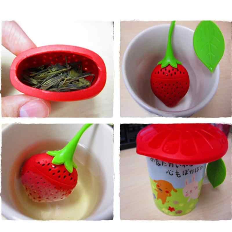 Прекрасная фруктовая силиконовая форма в виде клубники, чай, Травяные специи, лист для заварки, ситечко для распутывания листьев, чай в чайнике, чайная чашка, заварка листьев
