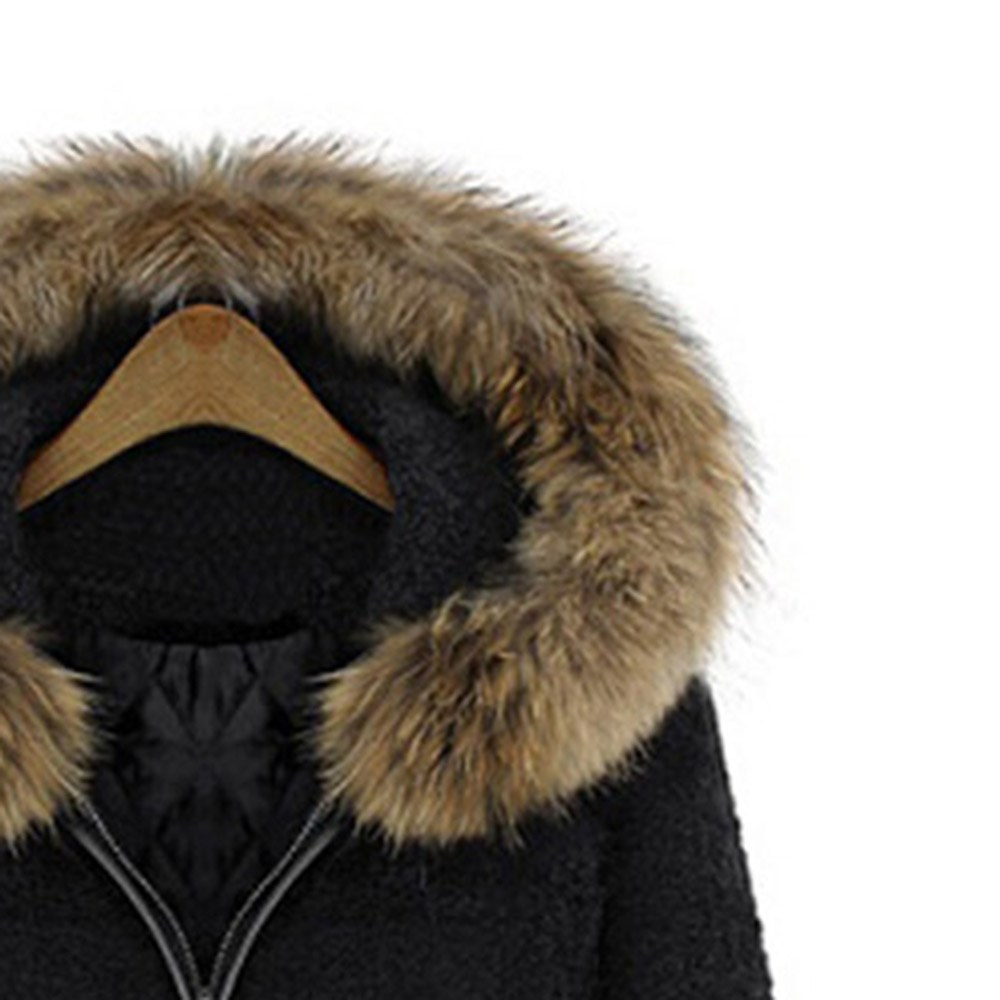 Invierno Capucha Con Abrigo Elegante Casual Falsa Ropa Moda Caliente Cordón Negro Espesar Mujeres Lana Collar Piel De Vintage Cálido RwxPBcz7q
