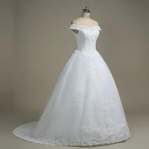 Image 3 - QQ Lover kapalı omuz düğün elbisesi Vestido De Noiva tekne boyun gelin gelinlik