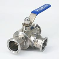 T port 1 1/2 38mm 304 Stainless Steel 1.5 Tri Clamp 50.5mm Ferrule O/D Sanitary 3 Way Ball Valve For Homebrew 229 PSI