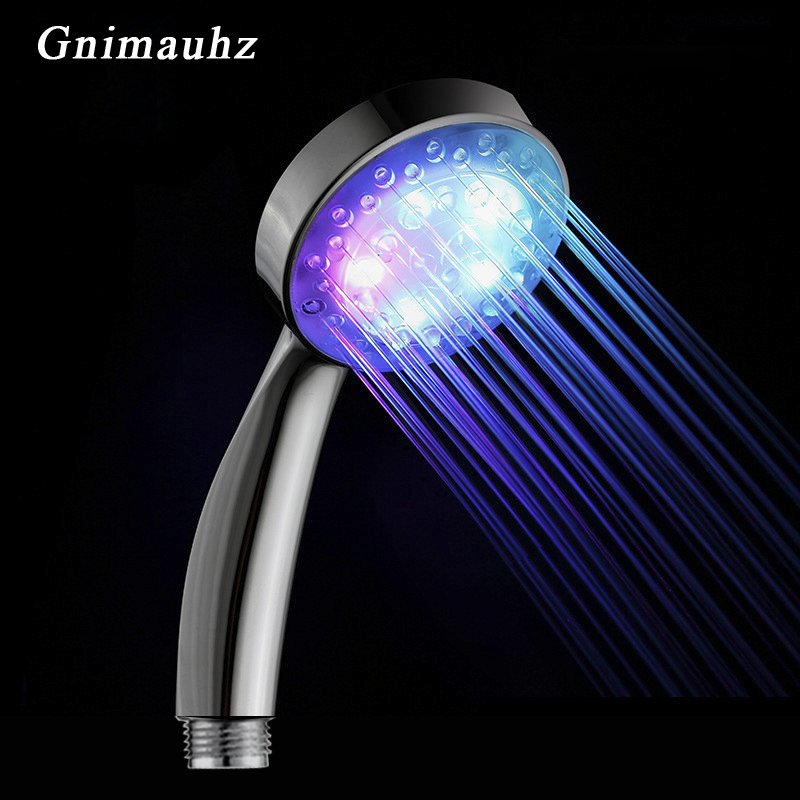 Colorful Romantic Automatic Magic 7 Color 5 LED Lights Handing Rainfall Shower Head,Water Bath Bathroom New Round Head Freeship