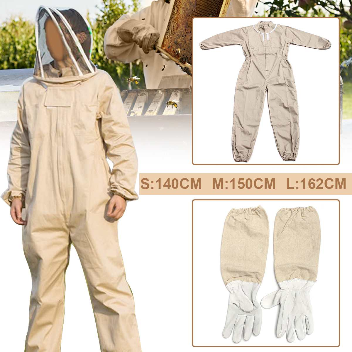 NEW Unisex Details About Cotton Beekeeper Bee Suit Smock + Beekeeping Protective Goatskin Gloves Gray+White Safely Clothes S M L
