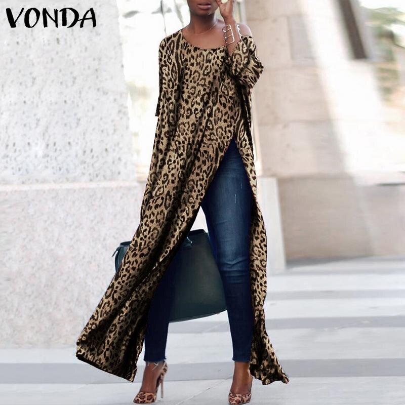 Женская обувь платье с принтом 2019 VONDA осень с длинным рукавом o-образным вырезом Sexy Разделение вечерние Макси свободное платье плюс Размеры ...