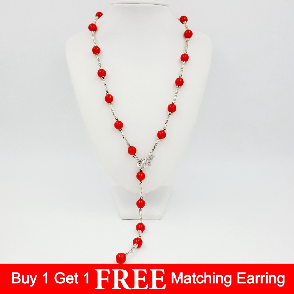 LiiJi Unique 80cm Dye Red Coral Color Shell Pearl 12mm beads Link Fashion Necklace Women Gift